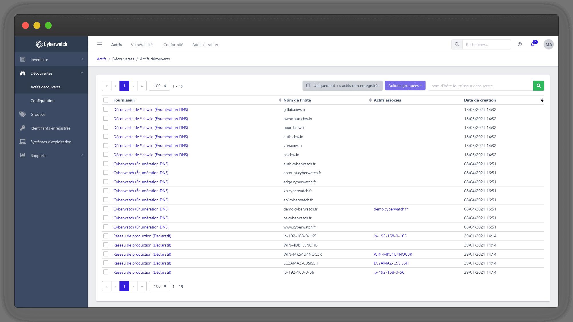 Cyberwatch vous permet d'identifier les actifs de votre système d'information grâce à un puissant moteur de découverte.