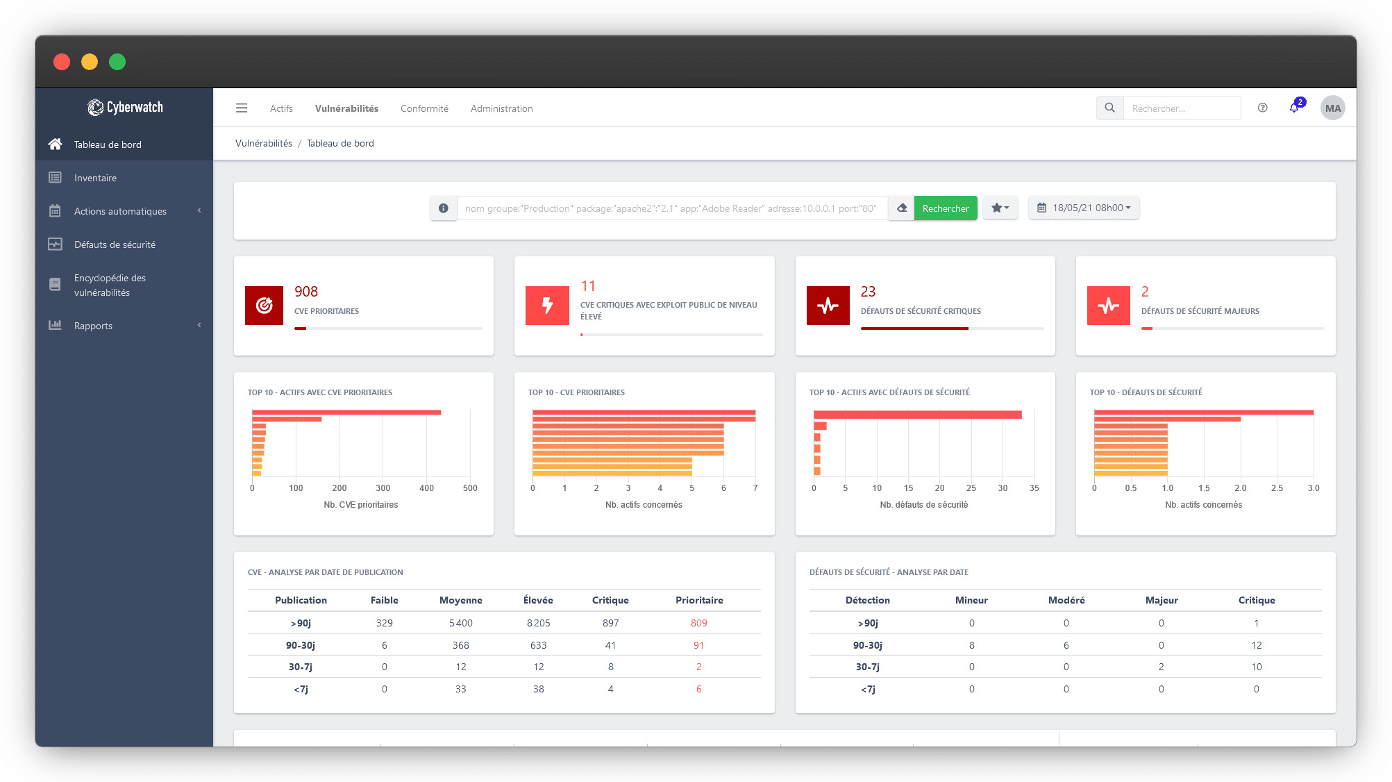Cyberwatch Vulnerability Manager is a vulnerability management platform with Assets mapping, Vulnerability scanning, Prioritization based on technical risk and business requirements, Decision-making tools, and an embedded Patch Management module.