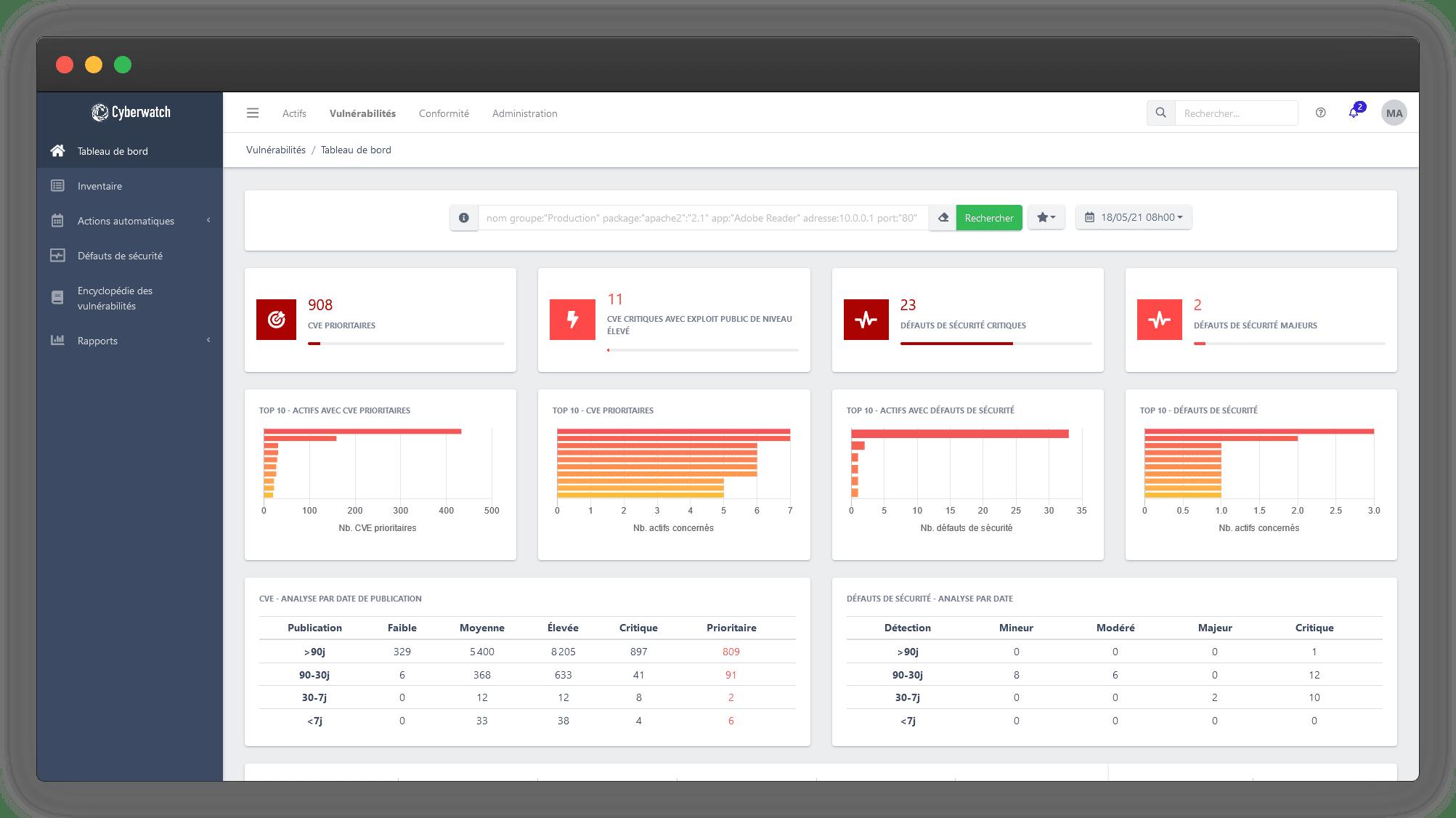Cyberwatch Vulnerability Manager est une plateforme de gestion des vulnérabilités, avec cartographie du système d'information, détection des vulnérabilités, priorisation basée sur le risque et sur les contraintes métiers, aide à la décision, et module de correction embarqué.