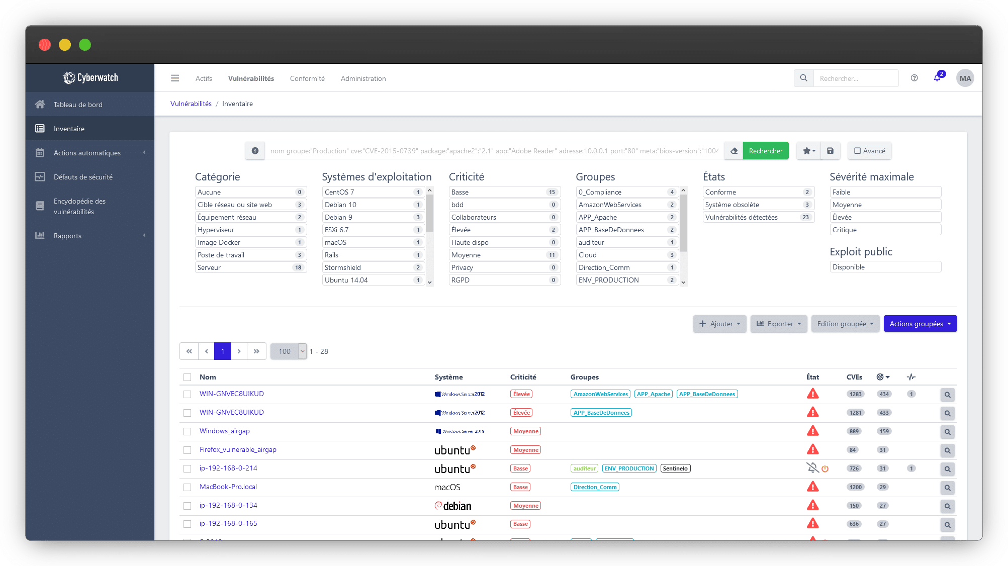 Cyberwatch Vulnerability Manager inventory functionality