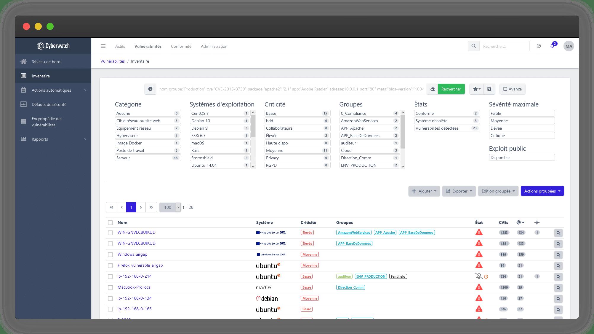 La fonctionnalité inventaire de Cyberwatch Vulnerability Manager