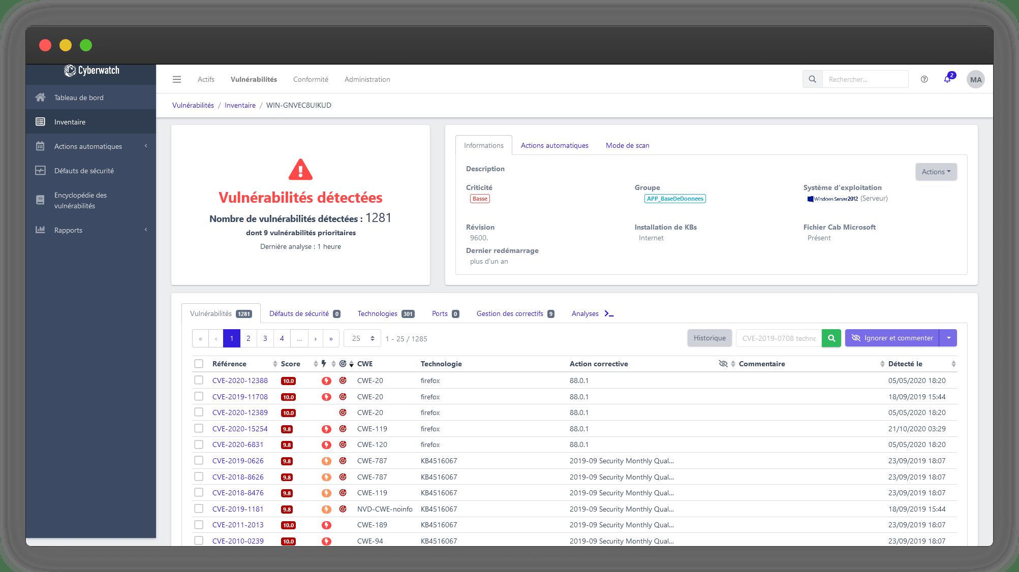Présentation de la fonctionnalité vue actif de Cyberwatch Vulnerability Manager