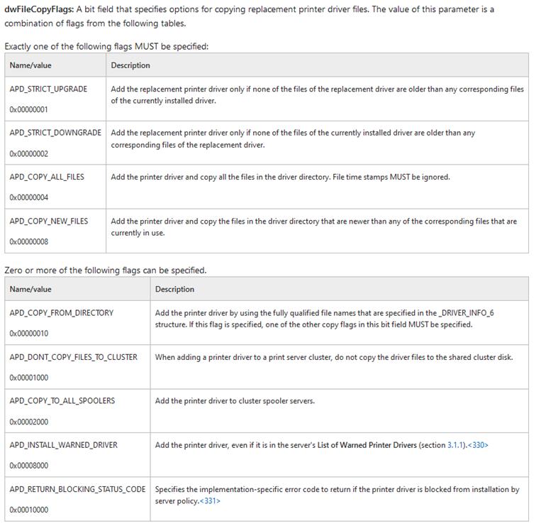 Les valeurs attendues dans « dwFileCopyFlags » après la première option sont définies dans la documentation Microsoft